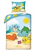 Halantex Bettwäsche Bettgarnitur Pokemon Pikachu Kinder 2 TLG. Bett Set 140x200 +70x90 cm...