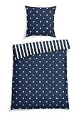 Schiesser Bettwäsche Sterne Blau, 100% Baumwolle, Größe:135 x 200 cm + 80 x 80 cm