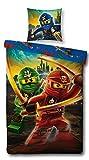 LEGO Bettwäsche Kompatibel Ninjago Motiv, 135x200 cm + 80x80 cm, Kinder und Jungen, Linon 100%...