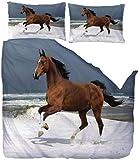 MYLFL Winterbettwäsche Tierpferde Schnee 155x220cm 3D Bedrucktes Bettwäsche Set Bettbezug...