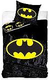 Carbotex - BAT8004 - Batman Einzelbett-Set mit Fledermaus-Logo Gotham City Original Bettbezug und...