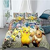 Tomifine Kinder Jungen Mädchen Kinder Pokemon Bettwäsche 135 x 200 cm und 2 Kopfkissenbezug 50 x...