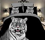 3D Bettwäsche Wild Tiger Bettbezug 135x200 + 80x80 cm Doppelseitige Schwarz Weiß Grau mit...