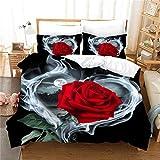 WMZ-SC Bettwäsche, dreiteilig, 3D rote Rose,Bedruckte Bettwäsche Tröster Set Romantische Blume...