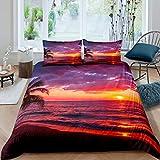 Ozean Bettbezug Set Palme Bettwäsche Set 135x200cm Hawaiian Summer Strand Betten Set Glitter Natur...