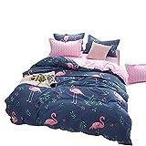 Loussiesd Kinder Betten Set Rosa Flamingo Bettwäsche Set Weiche Microfaser Reversible Blau und Rosa...