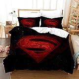 chenyike Superman Bettwäsche 135x200 cm Mikrofaser 2 teilig Set 1 Bettbezug mit Reißverschluss + 1...