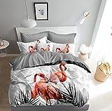 3D Bettwäsche Korallen Flamingo Bettbezug 135x200 + 80x80 cm Doppelseitige Koralle Weiß Grau mit...