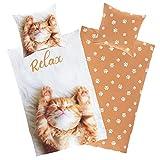 Aminata Kids Coole Bettwäsche Katze 135 x 200 cm + 80 x 80 cm aus Baumwolle mit Reißverschluss,...