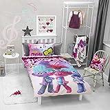 Trolls World Tour Bettbezug für Einzelbett, Regenbogen-Design, offizielles Lizenzprodukt,...