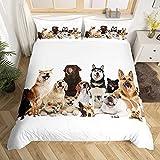 Loussiesd Kinder Bettwäsche Set Hund Muster Microfaser Bettbezug Set für Jungen Mädchen Tier...