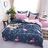 WONGS BEDDING Bettwäsche Flamingo Bettbezug Set 135x200 cm Bettwäsche Set 2 Teilig Bettbezüge...