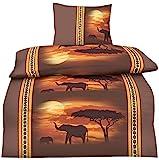 one-home 2 teilige Bettwäsche 135x200 cm Afrika Elefant braun orange Microfaser Garnitu