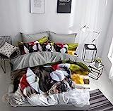 FEBE 3D Bettwäsche Französische Bulldogge Weihnachten Bettbezug 135x200 + 80x80 cm...