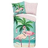 Aminata Kids Bettwäsche 135 x 200 Flamingo-Motiv Baumwolle rosa mit Reißverschluss, Tropical mit...