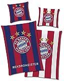 FC Bayern München Wende-Bettwäsche - REKORDMEISTER Leuchtet im Dunkeln 135 x 200 + 80 x 80 cm 100%...