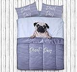 Sleepdown Daytime Bettwäsche-Set mit Mops-Motiv, 3D-Design, Bettbezug mit Kissenbezügen...