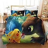chenyike Pokémon Bettwäsche 135x200 cm Bettbezug 2 teilig Set + 1 Kissenbezug 80x80 cm mit...