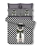 DecoKing 135x200 cm Bettwäsche mit 1 Kissenbezug 80x80 Hunde Pug Mops Bettwäscheset Microfaser...