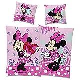 Minnie Mouse Bettwäsche-Set Wendemotiv Herz Pink 135 x 200 cm + 80 x 80 cm - 100% Baumwolle in...