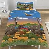 KidCollection Bettbezug für Einzelbett/Doppelbett, Dinosaurier-Welt-Motiv, Dinoherde,...