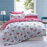 Sleepdown Wendebettwäsche mit Flamingo-Muster, Poly-Baumwolle, pflegeleicht, antiallergisch, weich,...