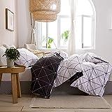 Schwarz Weiß Bettwäsche 135x200 Microfaser Kariert 2 Teilig Bettbezug Streifen Geometrisch...