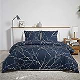 BEDSURE Bettwäsche 135x200 Baumwolle Navy Blau/Beige - Bettbezug Set mit schickem Zweige Muster, 2...