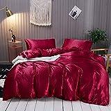 Omela Bettwäsche Satin 135x200 Weinrot Einfarbig Glatt Glänzend Bettbezug mit Reißverschluss 2...