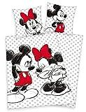 Klaus Herding GmbH Disneys Minnie Mouse & Mickey Maus Bettwäsche 80x80 135x200cm, 100% Baumwolle...