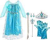 Vicloon ELSA Prinzessin Kostüm Kinder Deluxe Fancy Blaues Kleid,Accessoires und Schuhe für...