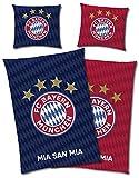 FC Bayern München Wende-Bettwäsche MIA SAN MIA 135 x 200 + 80 x 80 cm 100% Baumwolle...