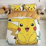 Pikachu Bettbezug 3D Pokemon Anime Cartoon Kinder-Bettwäsche-Set, 2-teilig, enthält 1 Bettbezug...