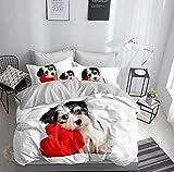 3D Bettwäsche Hund mit Herz Bettbezug-Set 135x200 + Kissenbezug 80x80 cm Hündchen Wendebettwäsche...