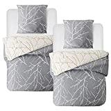 Bedsure Baumwolle Bettwäsche 135x200 cm 4 teilig Grau/Beige Bettbezug Set mit schickem Zweige...