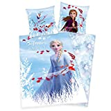 Arle-Living Frozen - Die Eiskönigin 2 Bettwäsche mit Wende Motiv 135x200 cm + 80x80 cm (ELSA,...