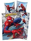 Klaus Herding GmbH Marvel Spiderman Bettwäsche 80x80 + 135x200cm 100% Baumwolle mit Reißverschlu