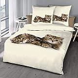 Schlummerglück Original Bettwäsche mit Zwei süßen Kätzchen, 100% Baumwolle, mit...