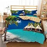 MENGBB 3D Bettbezug Bettwäsche Set Blauer Himmel Meer Strand Palmen, 135x200cm Gesamt 4 Größen,...