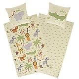 Aminata Kids Kinderbettwäsche 135x200 Biber Jungen Mädchen Baumwolle Tiere Tier-Motiv - YKK...