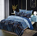 Luofanfei Gestreifte Bettwäsche 135x200cm 2teilig Blau Geometrisch Bettbezug Set Microfaser...