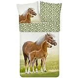 ESPiCO Bettwäsche Trendy Bedding Pferd Pony Fohlen Haflinger Koppel Blumen Blümchen Grün Braun...