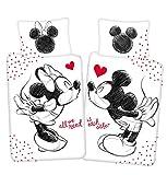 Disney Mickey & Minnie Mouse All we Need Bettwäsche, Wendebettwäsche Größe: 140x200 cm, Kissen...