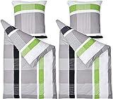 Beautissu Renforcé Bettwäsche Bezug 4-TLG Set Dana 135x200 cm 100% Baumwolle Bettbezug mit...
