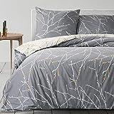BEDSURE Bettwäsche 135x200 Baumwolle Grau/Beige - Bettbezug Set mit schickem Zweige Muster, 2...