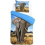 ESPiCO Bettwäsche Sleep and Dream Elefant Blau Wildnis Afrika Safari Wildtier Tiermotiv Renforcé,...