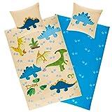 Aminata Kids Kinderbettwäsche Dinosaurier-Motiv 135 x 200 cm + 80 x 80 cm Jungen, aus Baumwolle mit...