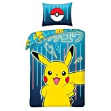 Halantex Pokemon Kinder Bettwäsche-Set, Bettbezug 140x200 cm + Kopfkissenbezug 70x80 cm, 100%...