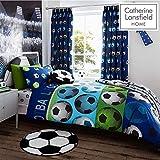 Catherine Lansfield Stoff mit Fußball-Design, für Kinder, blau, Einzel