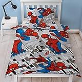 Spiderman Offizieller Bettbezug für Einzelbett, Design graue Stadtlandschaft, wendbar, zweiseitig,...